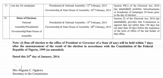 Timetable For 2015 Elections
