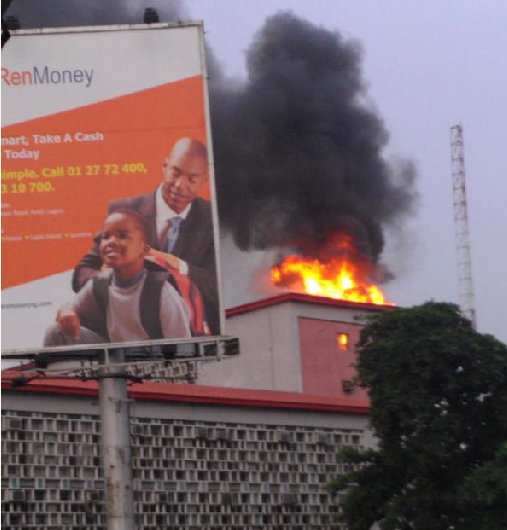 Police Headquaters Building On Fire
