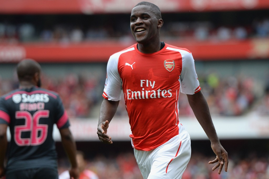 LONDON, ENGLAND - AUGUST 02:  Joel Campbell of Arsenal celebrates scoring during the Emirates Cup match between Arsenal and Benfica at the Emirates Stadium on August 2, 2014 in London, England.  (Photo by Michael Regan/Getty Images)