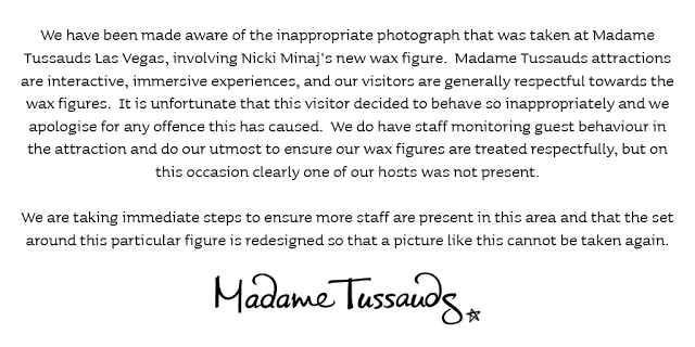Madame Tussauds Statement