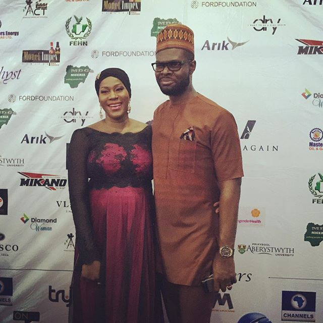 Heavily Pregnant Stephanie Okereke Stuns For Movie Premiere with Her Husband