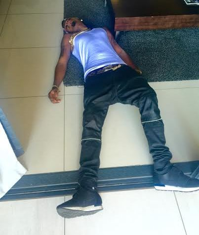 The photo of Skiibii collapsed on his living room floor that went viral. Skiibii is wearing the exact same clothes he wore in the previous photo posted 2 weeks before, and at the same location