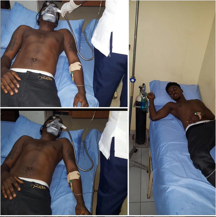Photos of Skiibii on an hospital bed wearing an oxygen mask