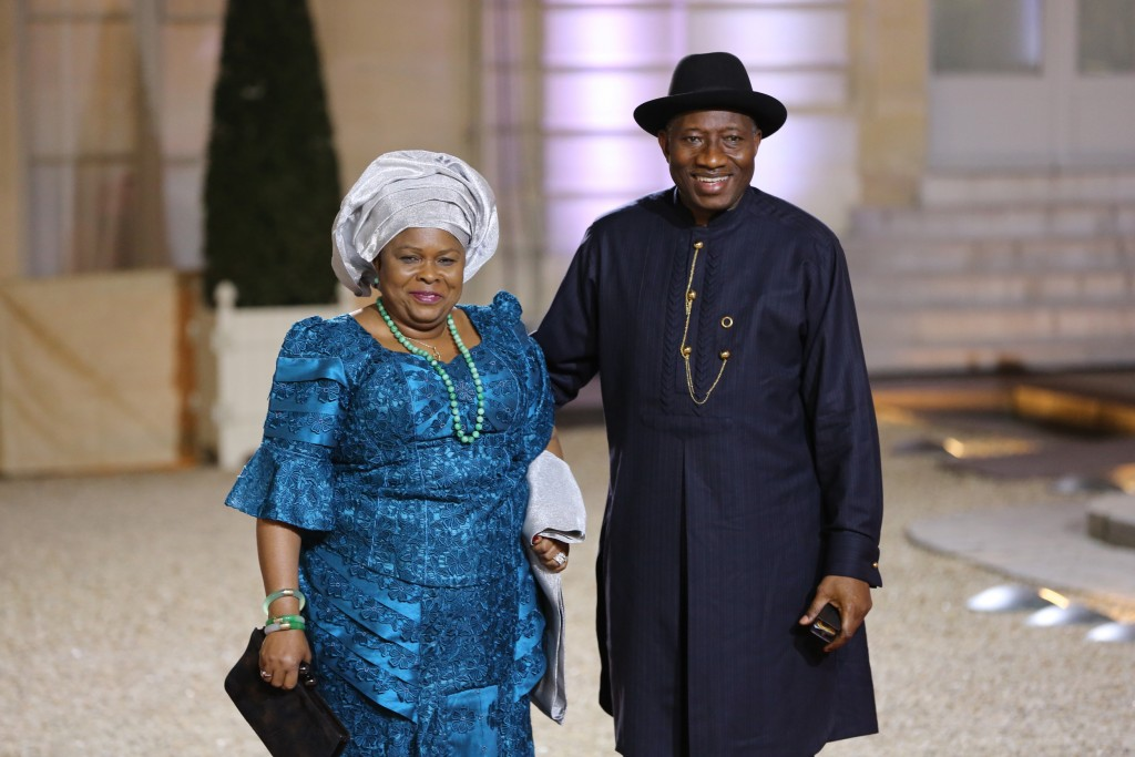 PIC 3. PRESIDENT GOODLUCK JONATHAN (R) AND HIS WFE, PATIENCE AT THE ELYSEE PALACE PARIS, VENUE OF THE SUMMIT ON PEACE AND SECURITY IN AFRICA.