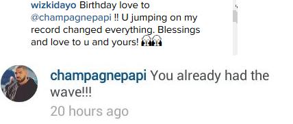 Wizkid birthday message to Drake