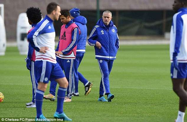 Jose Mourinho leading his last training session at Chelsea (Chelsea FC/Press Association Images)