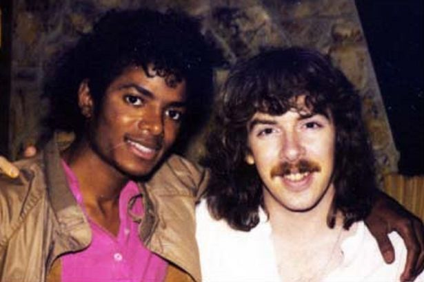 Michael Jackson and collaborator Matt Forger during the Thriller recording sessions in 1982