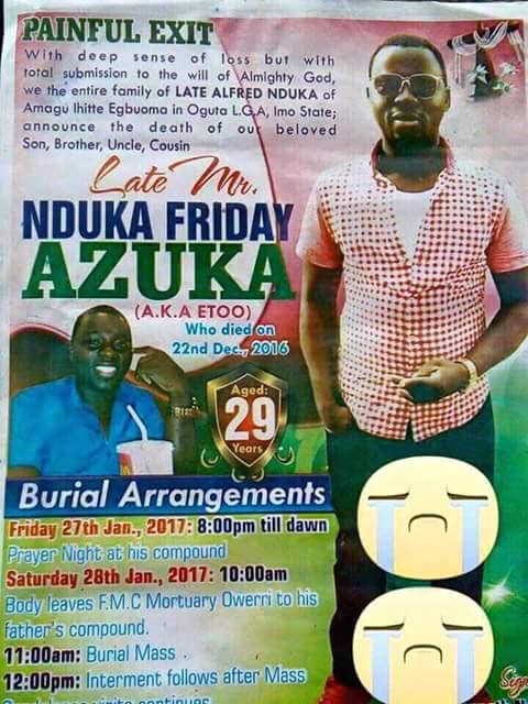Friday Azuka Nduka buried