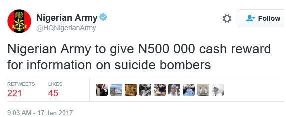 Nigerian army cash reward