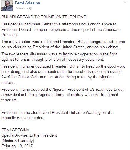 buhari trump phone call1