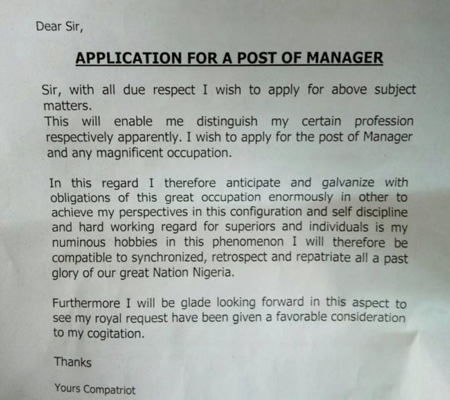 funny application letter