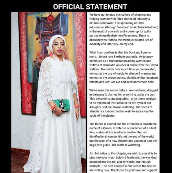 Olori Wuraola Finally Breaks Silence