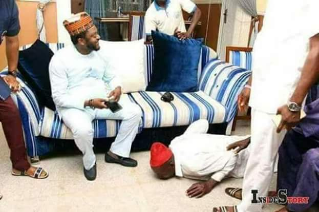 Photos Of An Old Man Prostrating Before Kogi State Chief