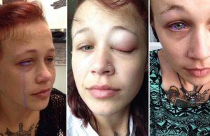 Woman tattoos eye