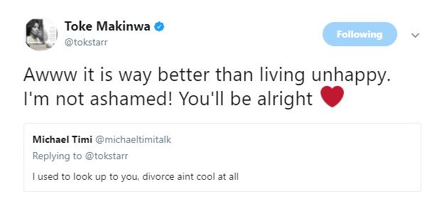 toke makinwa replies twitter user