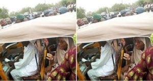 Aisha Buhari Spotted Inside Tricycle