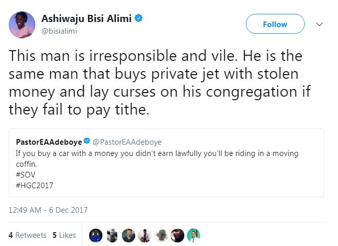 Bisi Alimi Blasts Pastor Adeboye