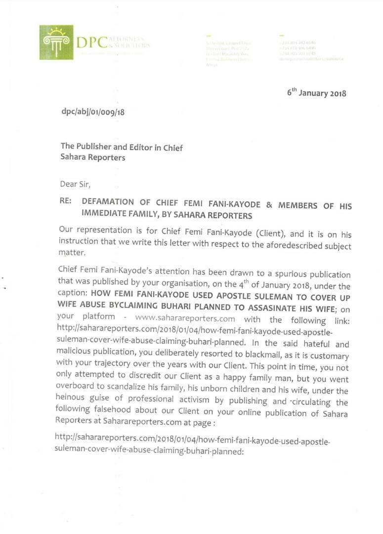 Fani-Kayode Demands Apology