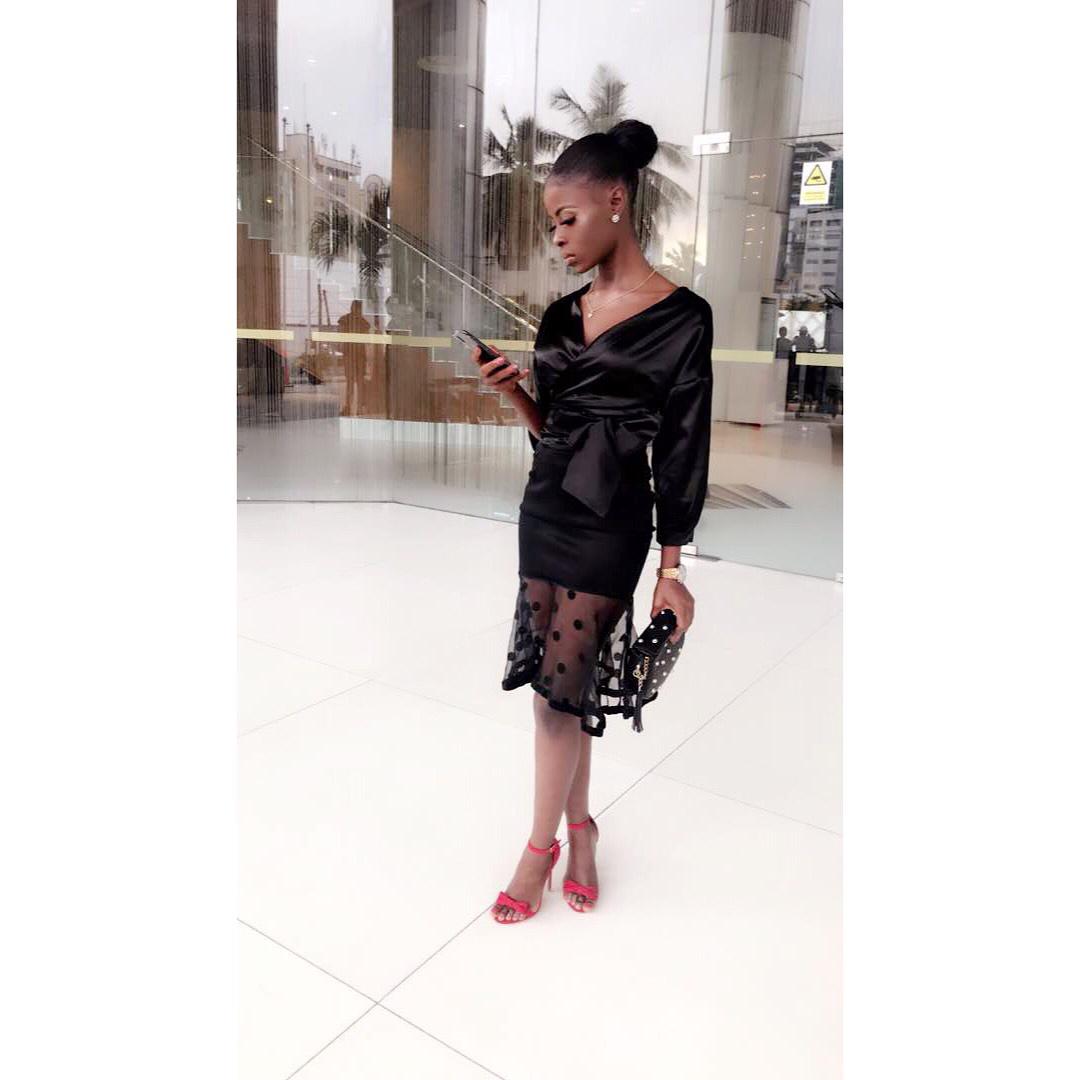 BBNaija: disqualified housemate, Khloe shares new photos as she rocks black for her media rounds