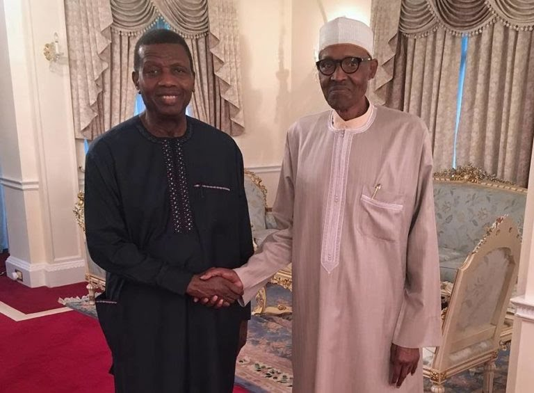 President Buhari celebrates Pastor Adeboye
