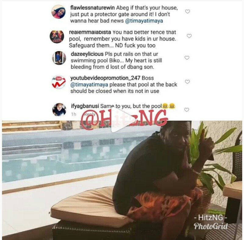 Nigerians warn Timaya concerning his own swimming pool