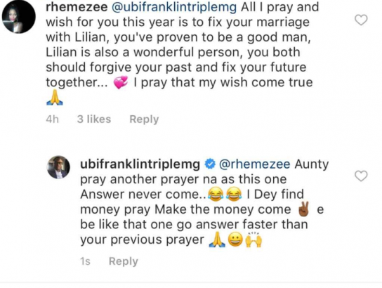 Ubi Franklin replies fan