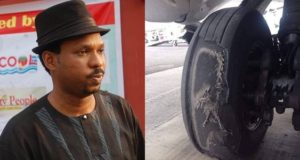 Alariwo of Africa shares poor state of a commercial plane's tyre