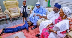 Ambode son prostrates to welcome the president
