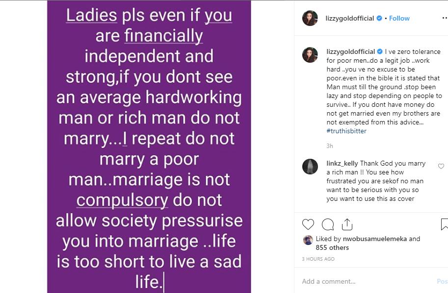 Lizzy Gold Onuwaje tells men