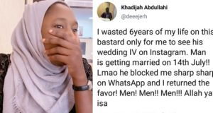 Jilted woman cries out