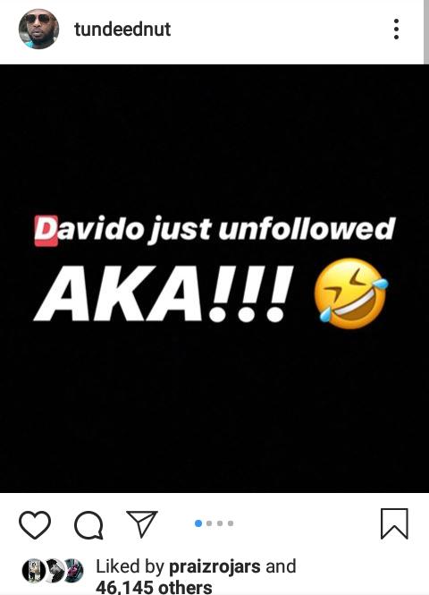 Davido unfollows