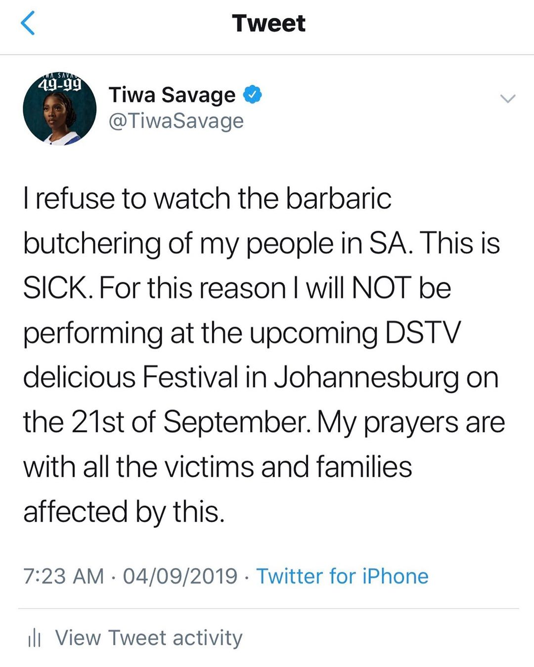 Tiwa Savage Cancels
