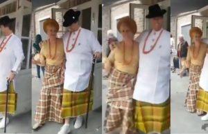 White couple rocking Nigerian attire