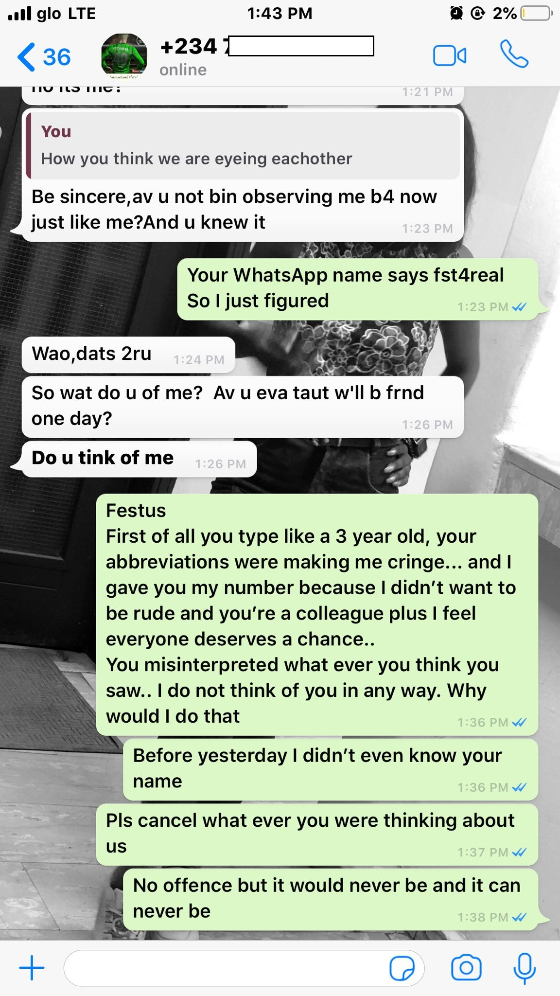 A Nigerian Lady known as Asake has shared screenshots of the conversation with a guy who apparently, has feelings for her.