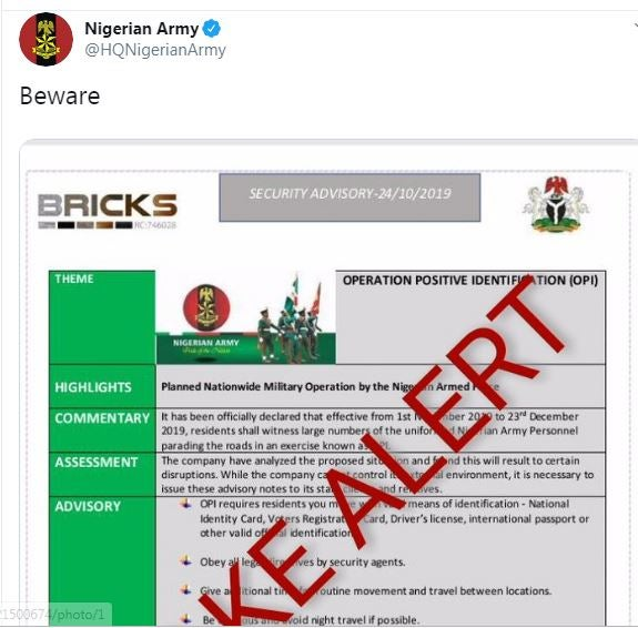 Nigerian army debunks
