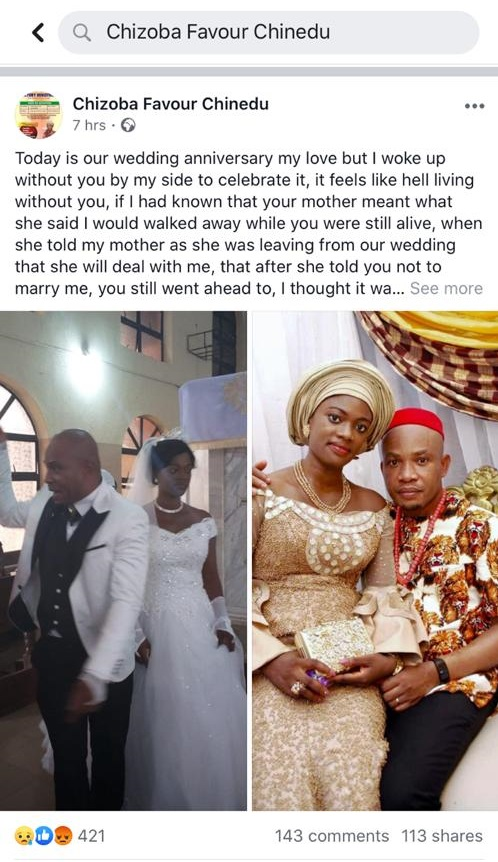 Nigerian Lady mourns her Late Husband who passed on months after they wedded