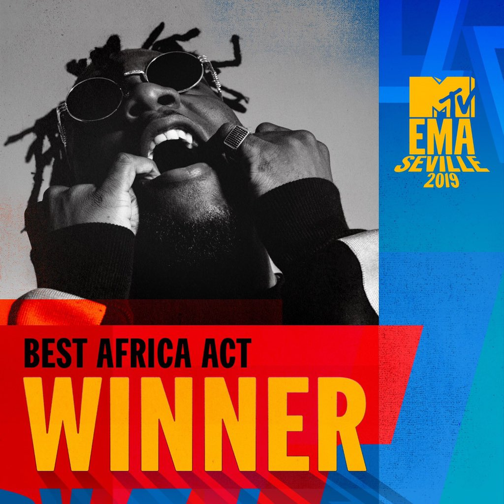 Burna Boy Wins 'Best Africa Act' Award at 2019 MTV EMA's + Full List of Winners!