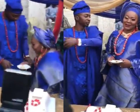 Lady praises her husband for stopping her from kneeling to feed him at their wedding (video) 1