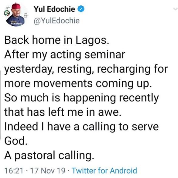 Edochie reveals