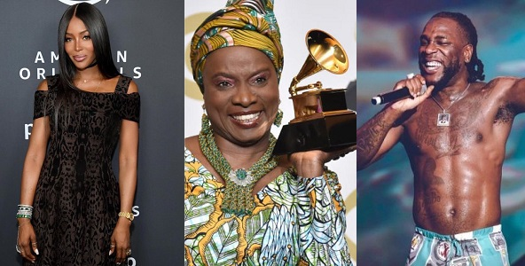 Image result for images of Naomi Campbell writes open letter to Grammy Awards organizers after Burna Boy's loss at its 2020 edition
