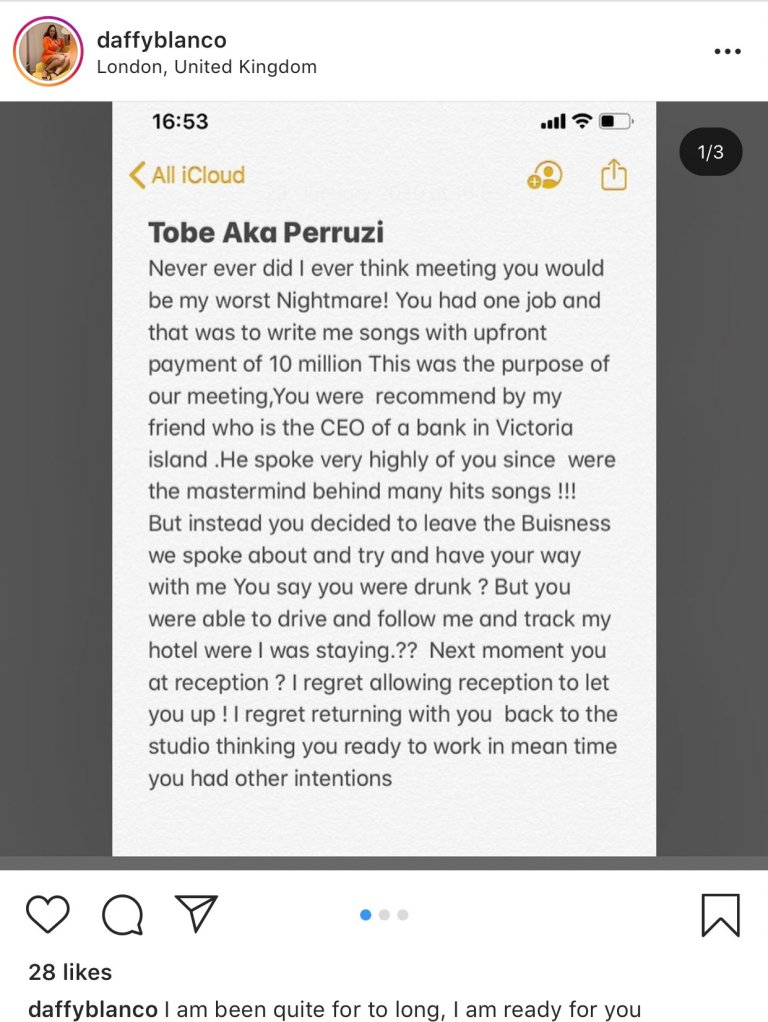 Peruzzi raped me, collected N15million from me – Daffy Blanco claims