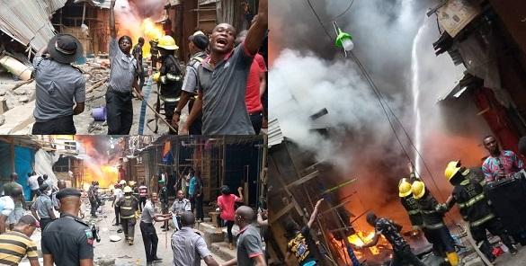BREAKING: Balogun market in Lagos is on fire again - YabaLeftOnline