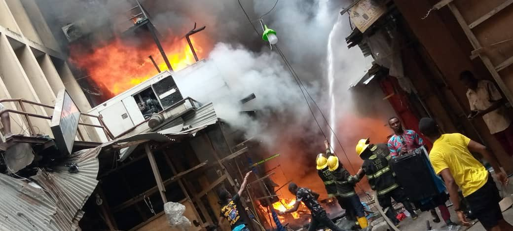 Panic As Balogun market is on fire again