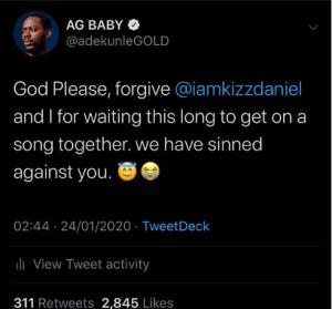 Adekunle Gold confesses
