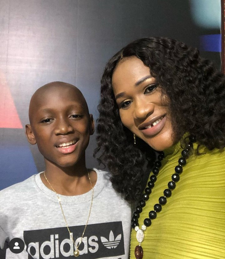 Sunmbo Adeoye celebrates her first son with 2face, Nino, as he turns 14