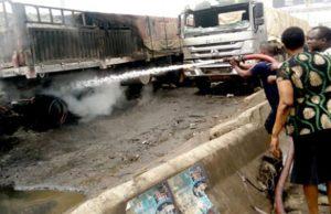 Mob sets truck ablaze