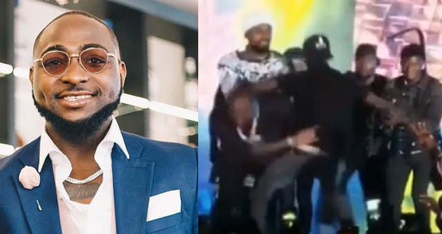Funny moment Davido dodged an overreaching fan on stage - YabaLeftOnline