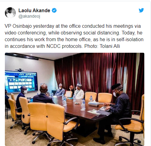 Osinbajo self-isolate