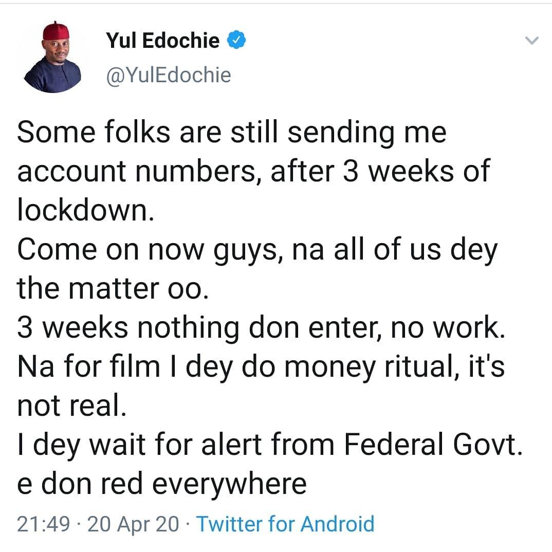 Yul Edochie begs fans