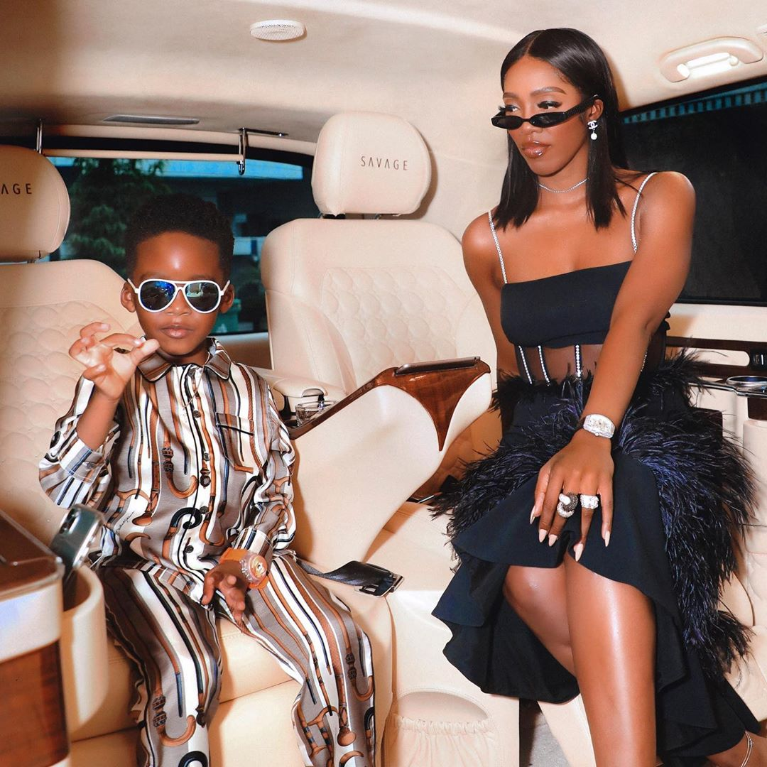 Video, Tiwa Savage Gifts Her Son Jamil An Expensive Customised Necklace For His 5th Birthday